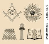 vector masonic symbols set.... | Shutterstock .eps vector #353884871