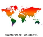 world map temperature rising | Shutterstock . vector #35388691