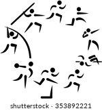 decathlon symbols arranged in a ... | Shutterstock .eps vector #353892221