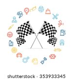 car icon set and checkered... | Shutterstock . vector #353933345