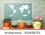 Chalk Drawing Of Earth Map On...