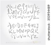 alphabet   number   hand drawn... | Shutterstock .eps vector #353954489