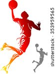 basketball flame dunk flame... | Shutterstock .eps vector #353959565