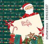 square festive frame with santa ... | Shutterstock .eps vector #354013337