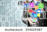 business man using smart phone... | Shutterstock . vector #354029387