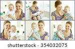 collage of images of young... | Shutterstock . vector #354032075