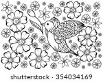 wild bird and flowers