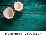 Coconut On Wooden Table....
