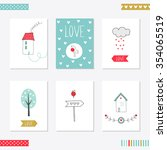 set of 6 cute creative cards... | Shutterstock .eps vector #354065519