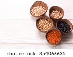 bowls of various legumes on... | Shutterstock . vector #354066635