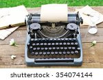 vintage black typewriter with... | Shutterstock . vector #354074144