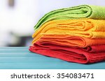 colorful towels on light...   Shutterstock . vector #354083471