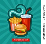 french fries  hamburger and... | Shutterstock .eps vector #354093941