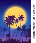 yellow moon with dark blue palm ... | Shutterstock .eps vector #354126929