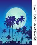 blue moon with palm silhouettes ... | Shutterstock .eps vector #354126941