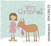 girl with christmas deer | Shutterstock .eps vector #354138125