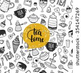hand drawn tea time... | Shutterstock . vector #354147269