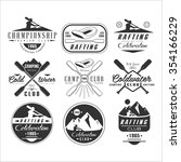 kayak and canoe emblems  badges ... | Shutterstock .eps vector #354166229