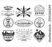 kayak and canoe emblems  badges ... | Shutterstock .eps vector #354166244