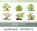 set of bonsai plant  in the pot ... | Shutterstock .eps vector #354185111