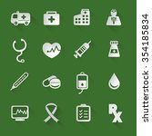 medical flat icons set with... | Shutterstock .eps vector #354185834