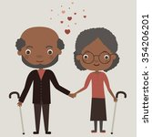 cute old couple in love.... | Shutterstock .eps vector #354206201