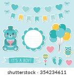 baby boy arrival vector... | Shutterstock .eps vector #354234611