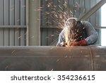 welder worker is welding a big... | Shutterstock . vector #354236615