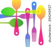 spoon fork icon vector kitchen... | Shutterstock .eps vector #354245927