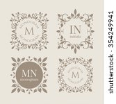 floral monograms for cards ... | Shutterstock .eps vector #354249941