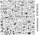 food cookery doodles set | Shutterstock .eps vector #354256331