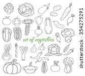 doodle set of vegetables   Shutterstock .eps vector #354275291