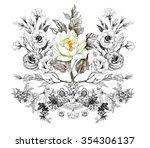 vintage monochrome watercolor... | Shutterstock . vector #354306137