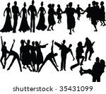 dancers silhouette   vector | Shutterstock .eps vector #35431099