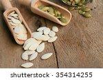 dried white pumpkin seeds | Shutterstock . vector #354314255
