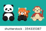 panda red panda monkey doll set ... | Shutterstock .eps vector #354335387