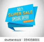 super sale banner design.... | Shutterstock .eps vector #354358001