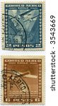Vintage World Postage Stamp Ephemera (editorial) pair chile - stock photo