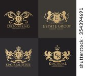 luxury crest logo set. brand... | Shutterstock .eps vector #354394691