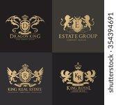 luxury crest logo set. brand... | Shutterstock .eps vector #354394691