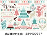 vector collection of cute retro ... | Shutterstock .eps vector #354400397