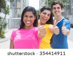 group of three young people in... | Shutterstock . vector #354414911
