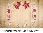 wooden christmas figurines... | Shutterstock . vector #354437999