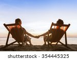 romantic couple sitting in... | Shutterstock . vector #354445325