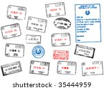 set of different passport visa... | Shutterstock .eps vector #35444959