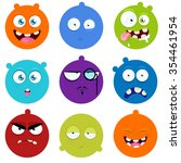 set of cartoon faces with... | Shutterstock .eps vector #354461954