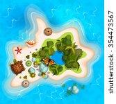 cartoon tropical exotic island... | Shutterstock .eps vector #354473567