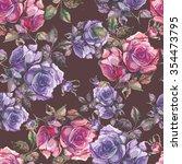 roses seamless pattern  | Shutterstock . vector #354473795