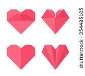 set of hearts made of paper in... | Shutterstock .eps vector #354485105