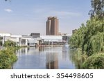 Small photo of BLOEMFONTEIN, SOUTH AFRICA, DECEMBER 21, 2015: Part of the Loch Logan Waterfront with the Provincial Government Building (previously the CR Swart building) in the back